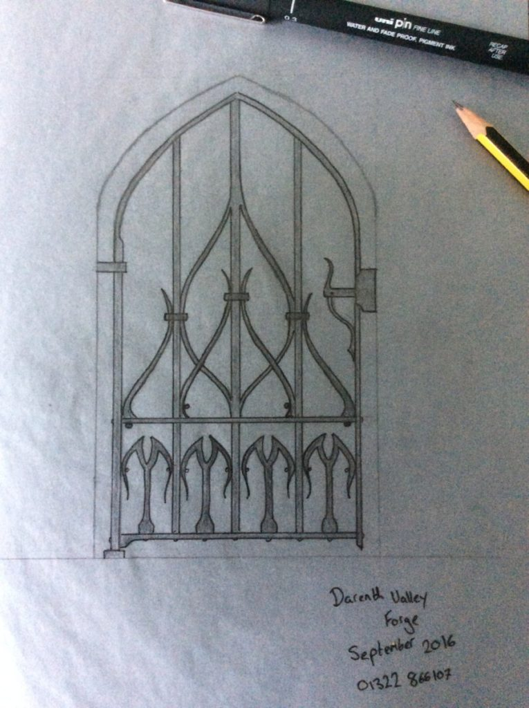 carefully hand drawn ironwork by a designer blacksmith - bespoke gate example